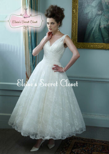 DARCEY Ivory Ballerina Tea Length Lace 50\'s Vintage Inspired Wedding ...