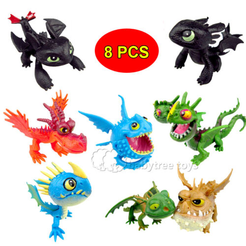 NEW 8PCS How To Train Your Dragon 2 Action Figures Toothless Animal Playset Toys