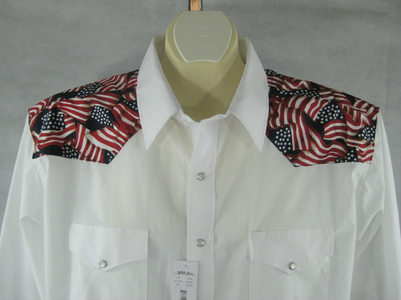 Mens Western Shirt 2XL 3XL White Flag Print Poly Cotton WHITE HORSE Long Sleeve
