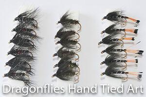 18-Wet-Fly-Fishing-Flies-BIBIO-BLACK-PENNEL-BLACK-amp-PEACOCK-SPIDER-Dragonflies