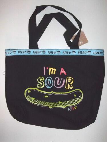 "NEW TOTE Bag HandBag FRED SWEET SOUR Mood Large  13 x13.5x 4/"" Black  Canvas"