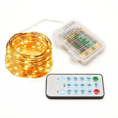Battery Powered LED Copper Wire String Fairy Lights Xmas Party W// Remote Control