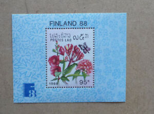 1988-LAOS-BUTTERFLIES-amp-FLOWERS-MINI-SHEET-MINT-STAMPS-MNH-FINLANDIA-039-88
