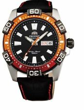 Orient Marine Sporty FEM7R005B9 Black Dial Black Leather Band With Orange Men's