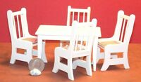 Dollhouse Miniature White Kitchen Table And Chairs Set 1:12 One Inch Scale F33