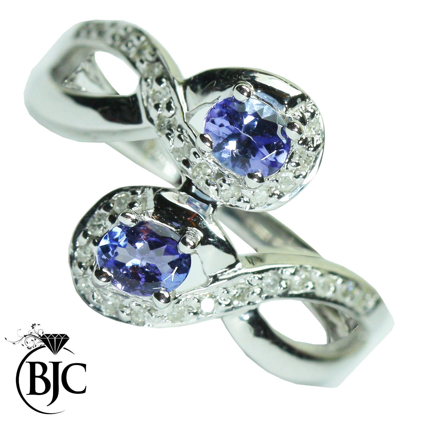 Bjc 9Ct gold whiteo Tanzanita y Diamante Tamaño N Anillo de Vestir R63