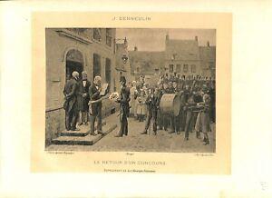 Radient Le Retour D'un Concours Mairie Par Jules François Denneulin Peintre Gravure 1902 Blanc Pur Et Translucide