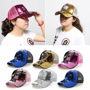 Details about Fashion Women Sequin Mesh Baseball Cap Bling Adjustable Sun  Visor Snapback Hats 3fff19b9fe5
