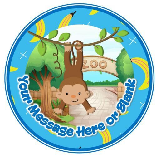 ND3 Monkey hanging Zoo Party personalised round birthday cake topper icing