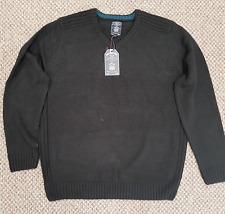Mens Size 2XL Kensington Eastside Black Larvik Wool Knit Jumper Pullover Top
