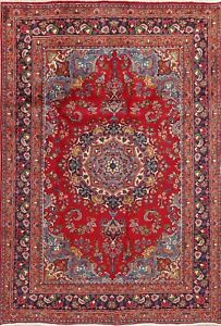 VINTAGE-Oriental-Floral-Red-Area-Rug-Wool-Hand-Knotted-Traditional-Carpet-6-x-9