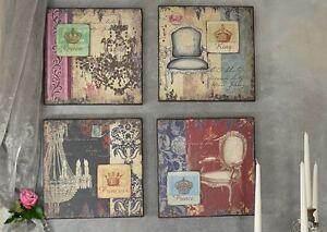 Bild-Wandschild-4-Set-Vintage-Shabby-Nostalgie-Wanddekoration-Holztafel-36x36cm