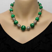 Sterling Silver & Green Jade Bead Necklace With Matching Bracelet & Earrings