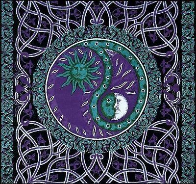 Handmade Celtic Celestial Yin Yang 100% Cotton Tapestry Bedspread Purple Twin