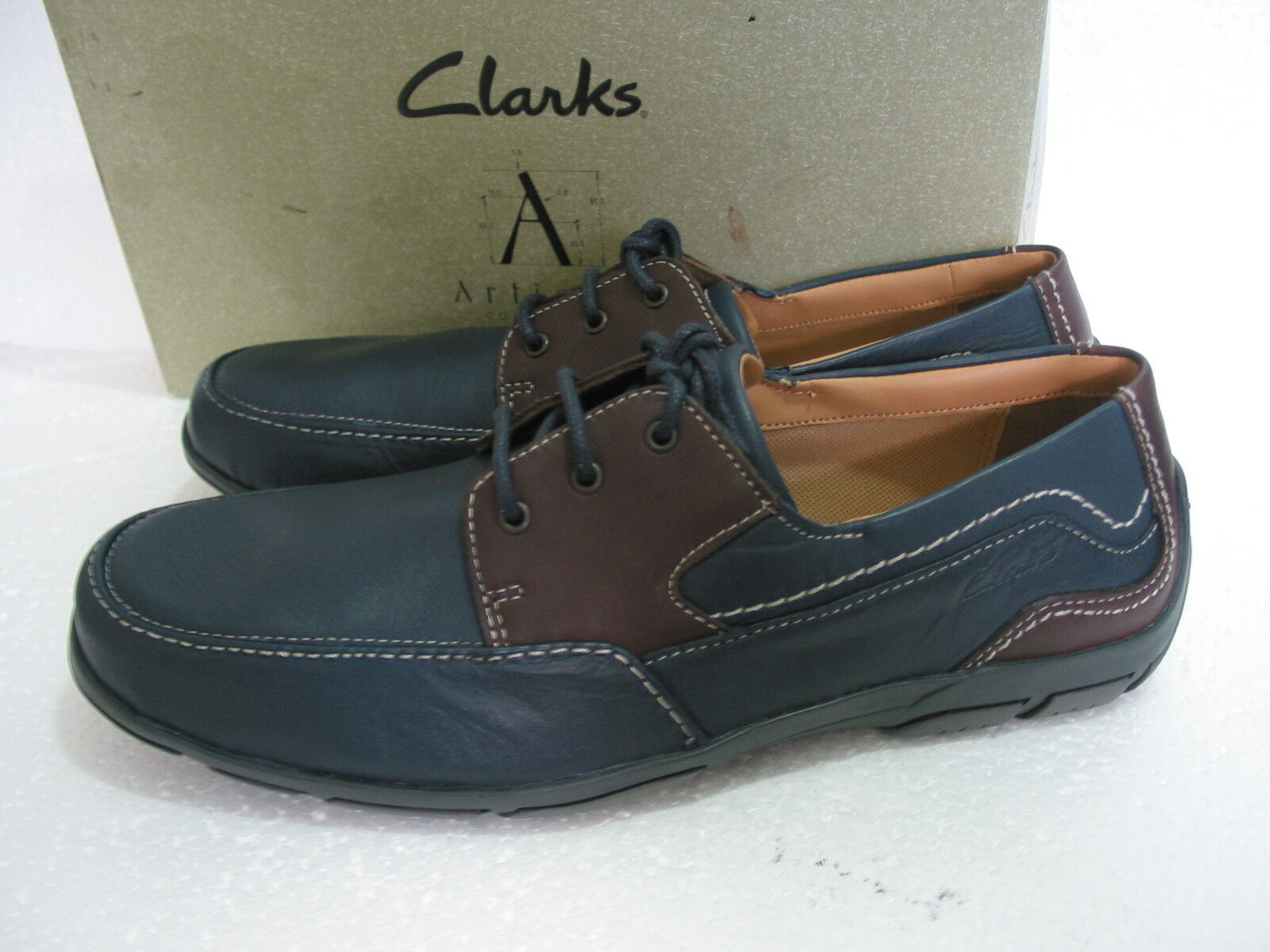 NEW MENS CLARKS EXTRA LEATHER LIGHT LATCH BAY NAVY LEATHER EXTRA SHOES SIZE 7 & 8 & 9 f63793