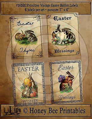 Primitive Vintage Easter Baskets Eggs Pantry Labels Set of 4 • #16103