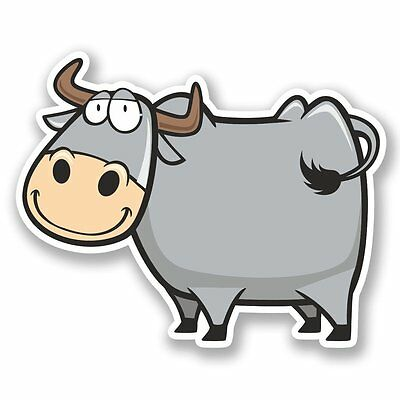 2 X dibujos animados FELIZ Vaca Pegatina de vinilo Laptop Viaje Equipaje Coche #5737