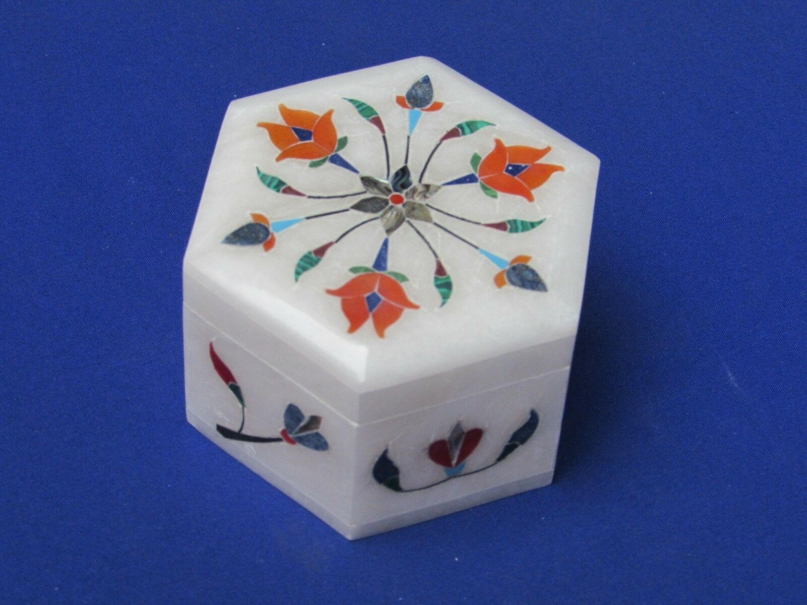 Marble Inlay Small Hexagon Jewelry Box white Inlay Pietra Dura Handmade Crafts