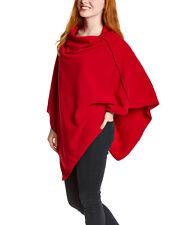 NunaWraps Red Fleece Poncho Cape Travel Wrap Quality Anti-Pill Fleece USA MADE