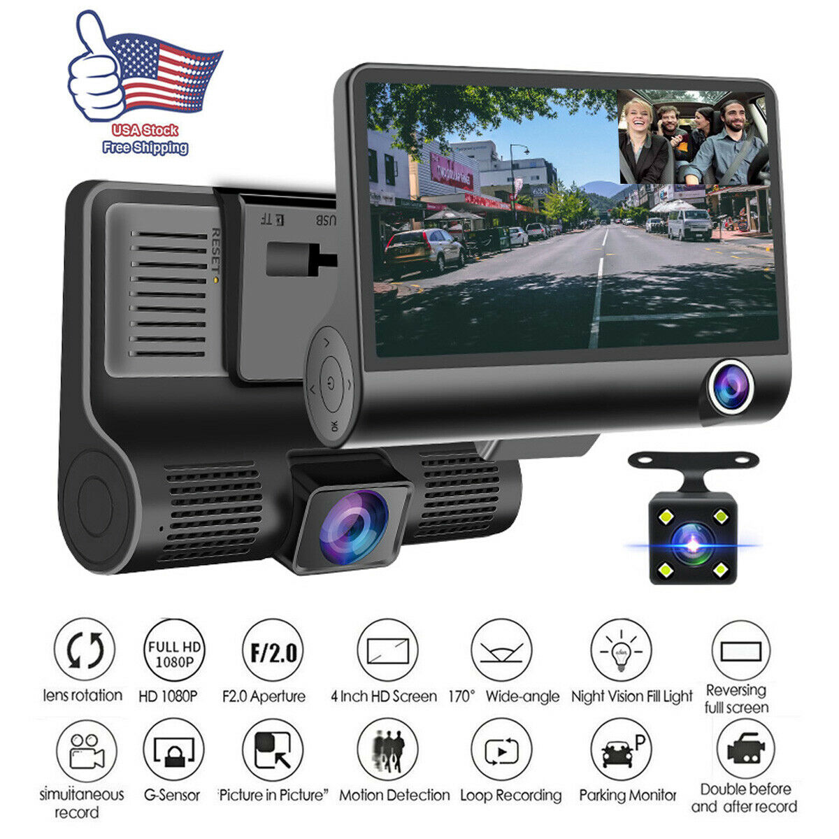 1080P Car DVR Dual Lens Dash Cam Front and G-sensor Rear Video Recorder Camera 1080p and cam car dash dual dvr Featured front lens rear