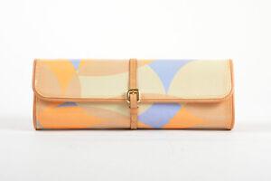 Louis-Vuitton-Tan-Blue-Orange-Patent-Leather-Vernis-Embossed-Pochette-Fleur-Bag