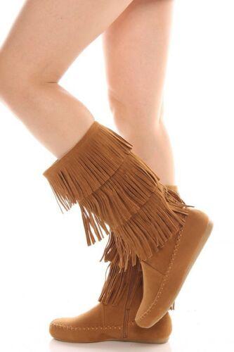 New Women/'s Moccasin Fringe Flat Boot Mid Calf Knee High 3-Layer w// Zipper