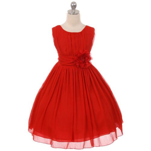 RED Flower Girl Dress Birthday Recital Formal Dance Wedding Party Bridesmaid