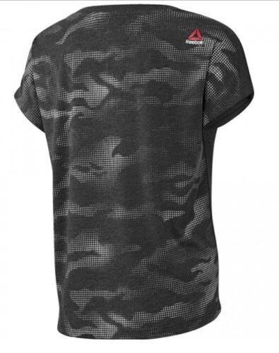 Ladies Women/'s Gym Training Fitness Running Yoga Grey New Reebok T-Shirt Top