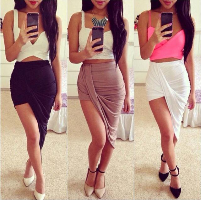 Draped Asymmetrical High Waisted Stretch Bodycon Low Mini Maxi Skirts New 2Y