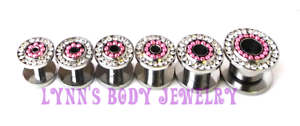 PAIR-Surgical-Steel-Screw-Fit-Tunnel-Plugs-Gauges-Pink-PVD-Balls-Clear-CZ