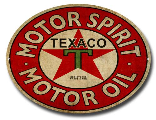 TEXACO MOTOR SPIRIT OVAL METAL SIGN.CLASSIC GARAGE SIGNS.WORKSHOP SIGN.