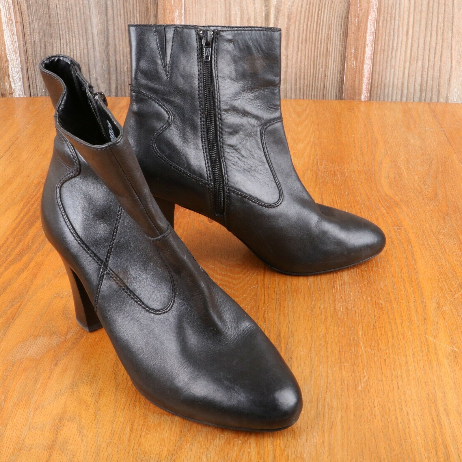 A.N.A. A New Approach Black Zip Up Boots Heels Women's Size 10M