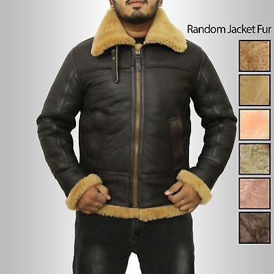 Mens New Raf B3 Winter Real Ginger Shearling Sheepskin Flying Leather Jacket