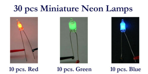 Resistors 30 pcs Neon Lamp 4mm Mixed Colors RGB Red NE-2 Green Blue