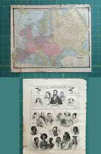 Europe Races of Men Lithograph Rare Original 1885 Antique Crams ...