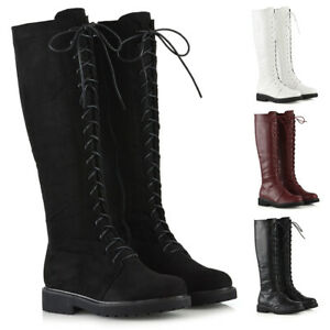 Womens-Lace-Up-Knee-High-Calf-Boots-Ladies-Winter-Military-Combat-Biker-Shoes
