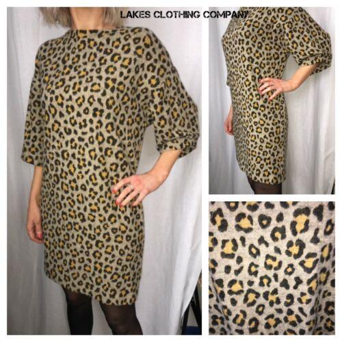 M/&S Animal Leopard Print Dress Half Sleeve Shift  jumper Dress Brown Sizes 6-22