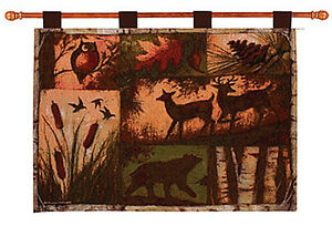 Lodge Collage Bear Deer Wildlife Silhouettes Tapestry