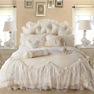 6 pcs/lot Bedding Set Luxury Cotton Jacquard Duvet cover Bed skirt Pillow shames