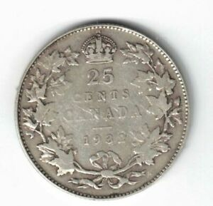 CANADA-1932-TWENTY-FIVE-CENTS-QUARTER-KING-GEORGE-V-800-SILVER-COIN