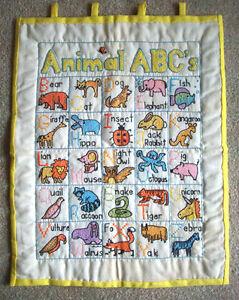 animal abc s wall hanging chart hand embroidery cross stitch ebay