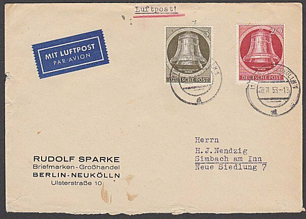 GERMANY 1953 Airmail cover ex Berlin - Bells franking.......................B335