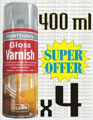 4 X All Purpose Clear Varnish Gloss Spray Paint Household Indoor Outdoor 400ml