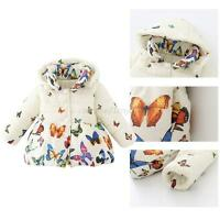 0-24 Month Toddler Baby Girl Winter Coat Infants Cotton Butterfly Jacket Outwear