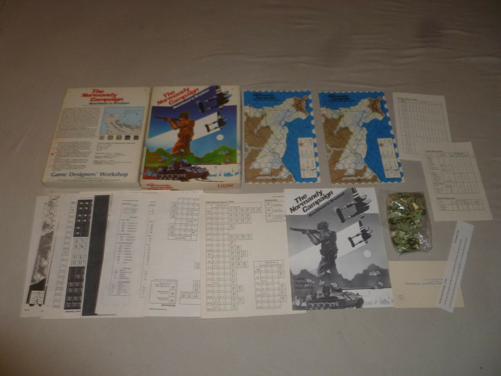 BOXED GAME THE NORMANDY CAMPAIGN BEACHHEAD TO BREAKOUT GDW VINTAGE 1983 472 CIB