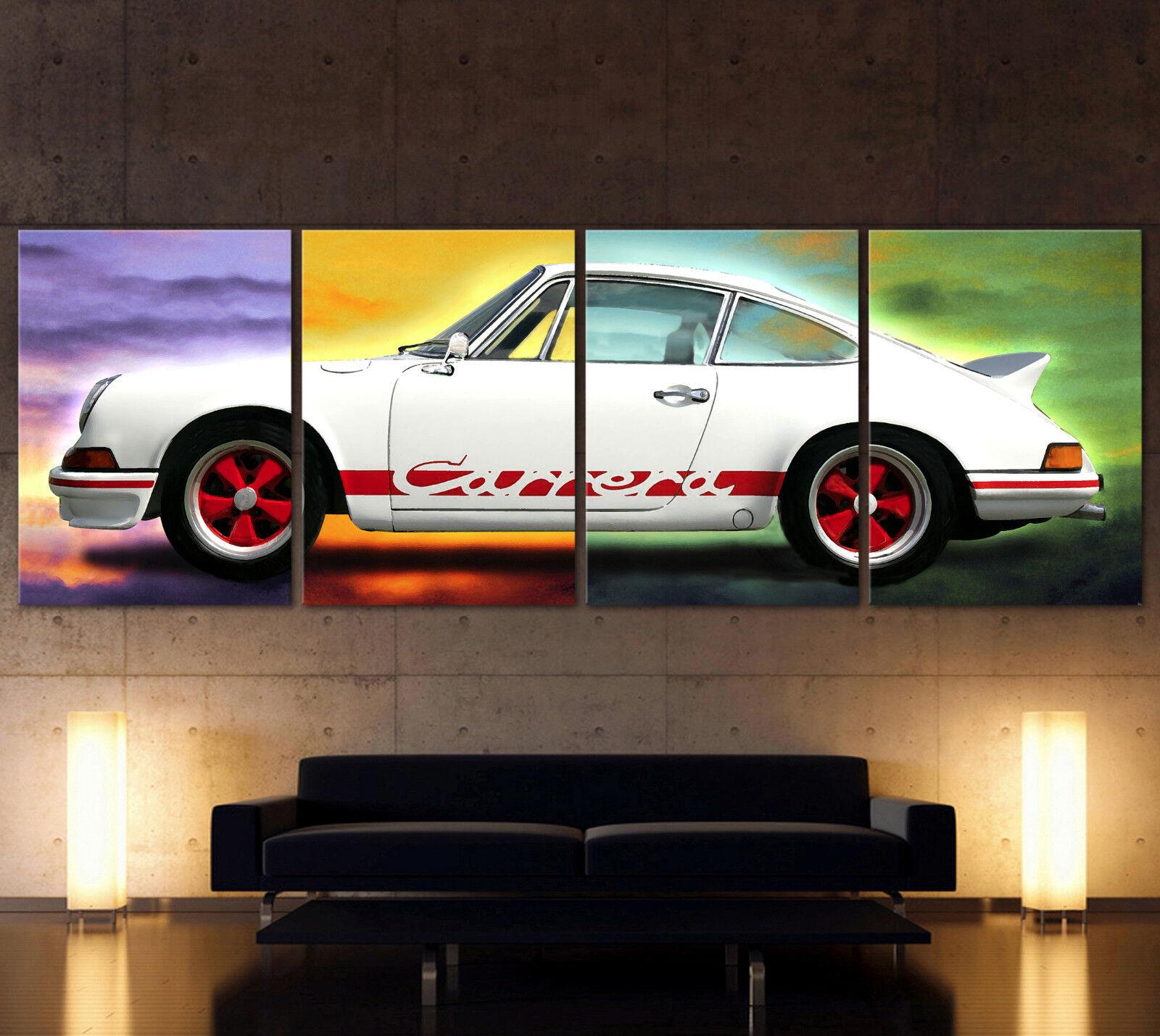XXL Pop Art Porsche 911 Carrera Rs Immagine Tela Vintage Decorativa Classico