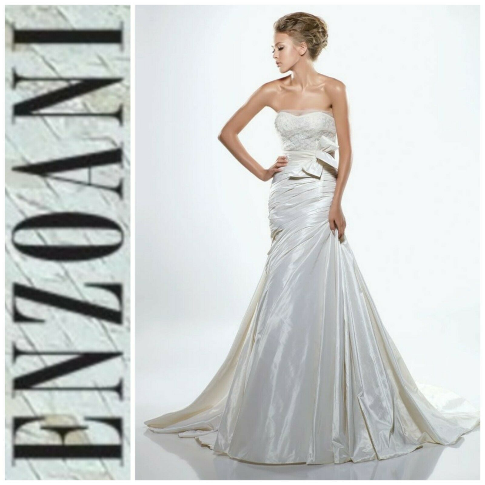NEW! Enzoani Ivory White Dominique Designer Wedding Gown Dress A-Line 10