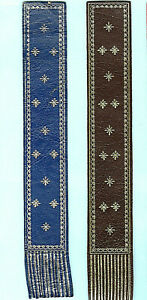 Leather-Bookmark-Blue-Brown-Silver-Stars-Geometric-Heraldic-Crest-Gift-Him-Man