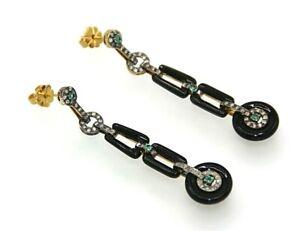 Onyx-Ohrstecker-Smaragd-Onyx-amp-Diamanten-Art-Deco