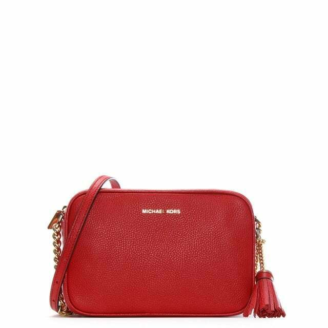Michael Kors Bright Red Leather MD Camera Bag 32F7GGNM8L